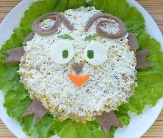салат новогодний барашек рецепт с фото