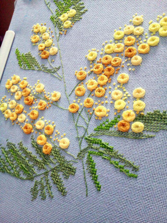 вышивка мимозы крестиком своими руками