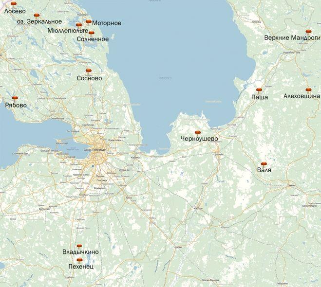 карта грибных мест Ленинградская область