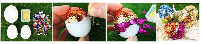украшение яиц из пенопласта на Пасху своими руками