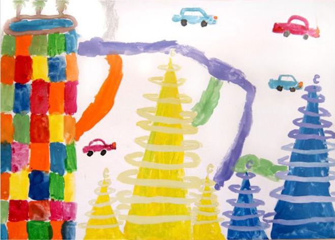Как нарисовать город будущего пошагово, Как нарисовать город будущего с ребёнком, примеры рисунков Город будущего