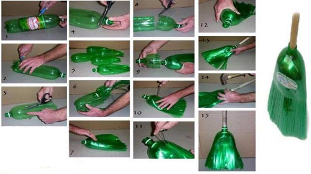 как делать метлы из пластиковы бутылок