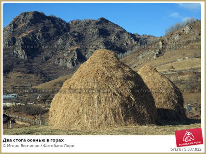 Два стога сена в кавказских горах