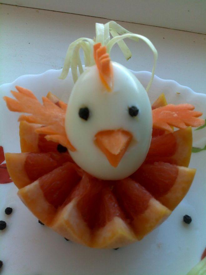 украшение цыпленок из яиц на праздничный стол