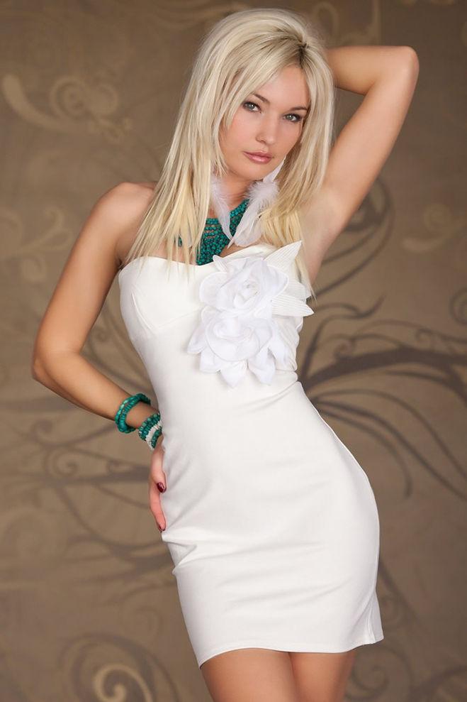 Белое Платье С Черными Цветами