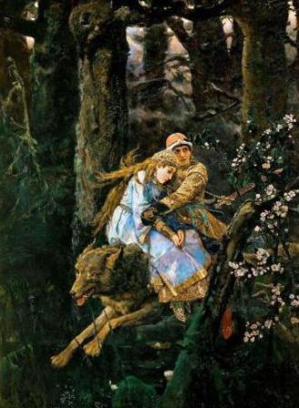 Основу содержания картины этого художника составляют образы былинных и сказочных персонажей