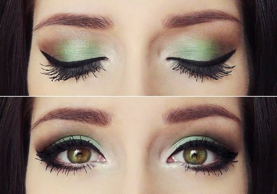 макияж каре-зеленых глвз