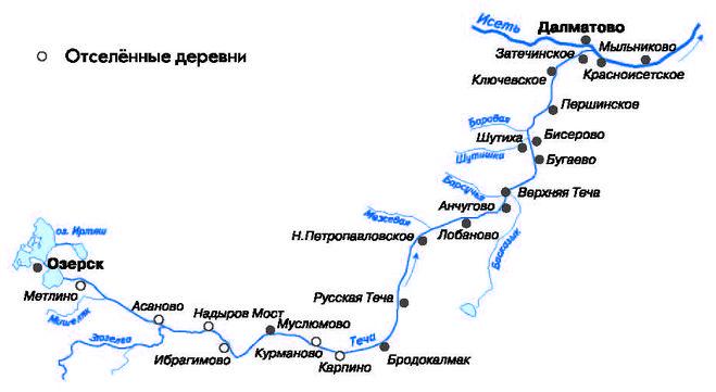 Река исеть схема протекания