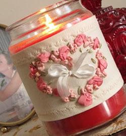 """""""сердце"""" лентами - валентинка для декора баночки"""