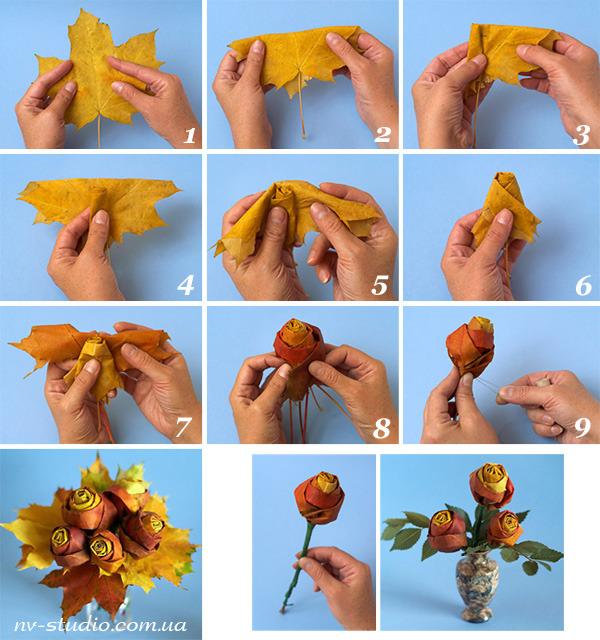 Поделки из листьев цветы своими руками