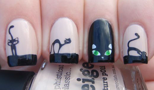 рисунок на ногтях с глазами кошки
