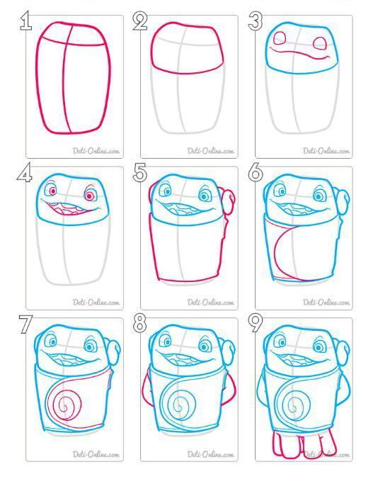 Как рисовать по этапно мультики