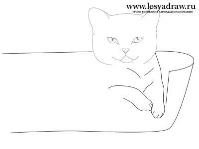 Как рисовать котенка с мамой