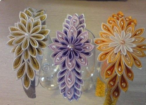 Канзаши цветок на ободке мастер класс
