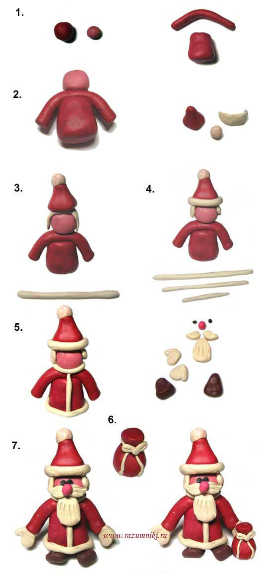Как сделать снегурочку и деда мороза из пластилина