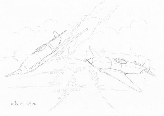 рисование военного самолета