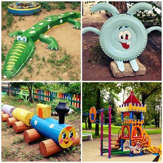 Как сделать детскую площадку из подручных материалов фото