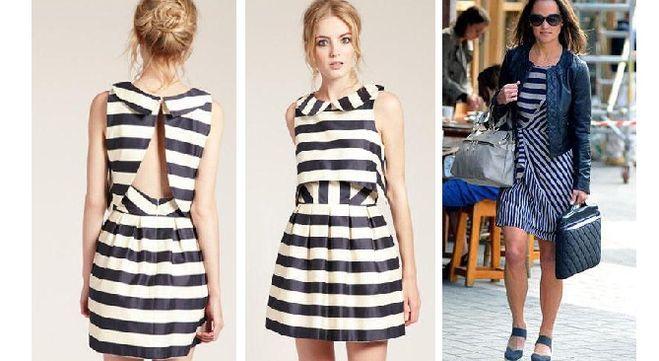 Платье из трикотажа в полоску фасон