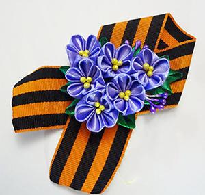 брошь с цветами сирени в технике канзаши мастер-класс