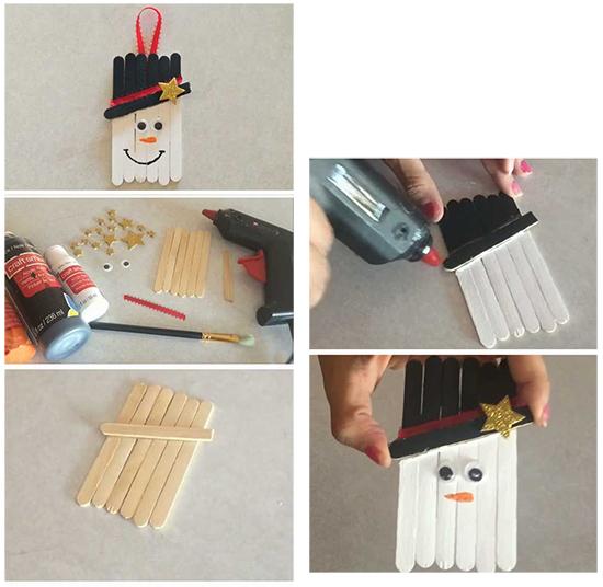 снеговик из палочек от мороженого на Новый год мастер-класс