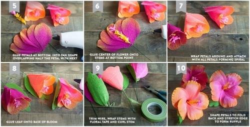 Простые цветы из гофробумаги мастер класс