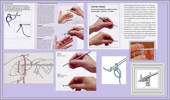 Как держать крючок для вязания