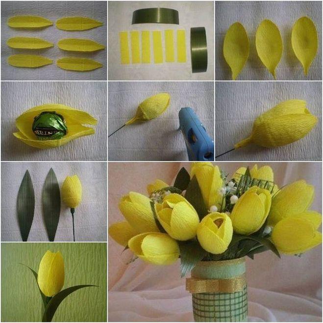 Тюльпаны из гофрированной бумаги своими руками с конфетами пошагово