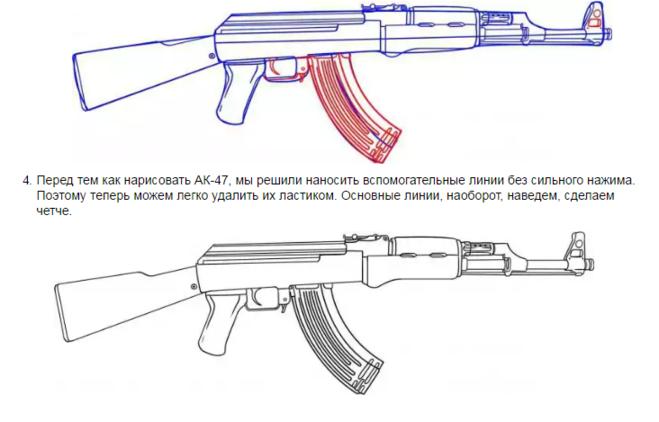 Как нарисовать автомат Калашникова карандашом и красками ... Автомат ППШ Устройство