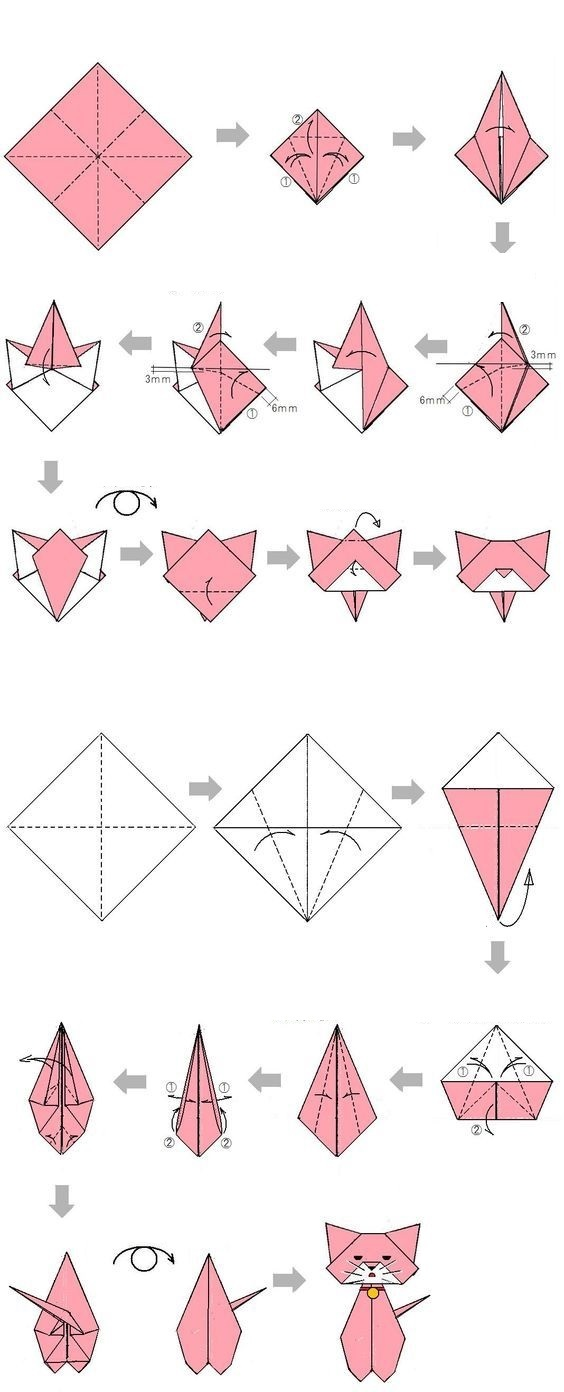 Оригами котёнок схема