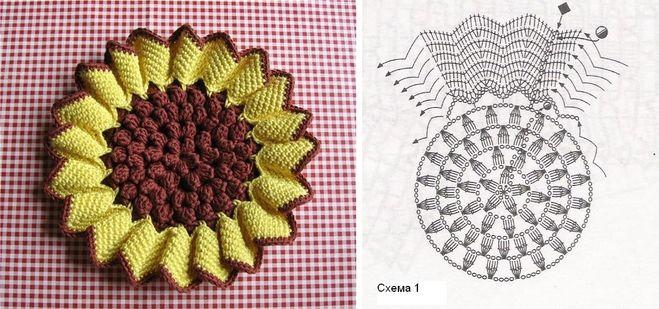 схема вязания подсолнуха