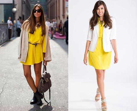Фото белого желтого платья