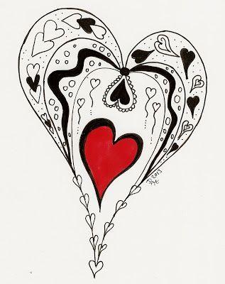 рисунок сердце в стиле зетангл