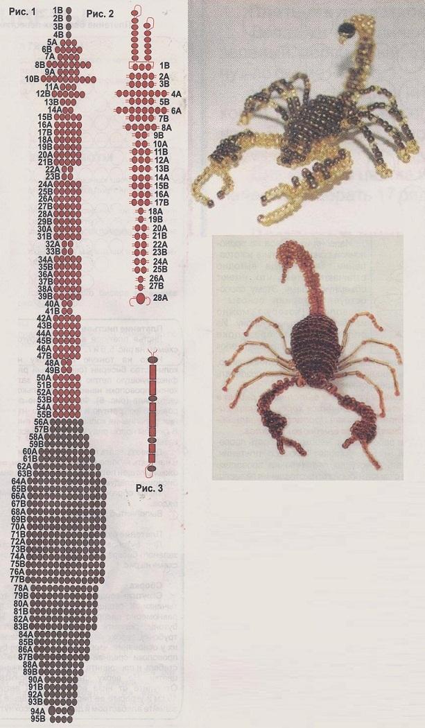 Скорпион из бисера схема плетения для начинающих