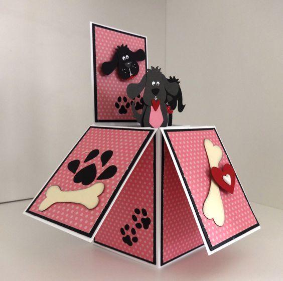 открытка-коробка с собакой