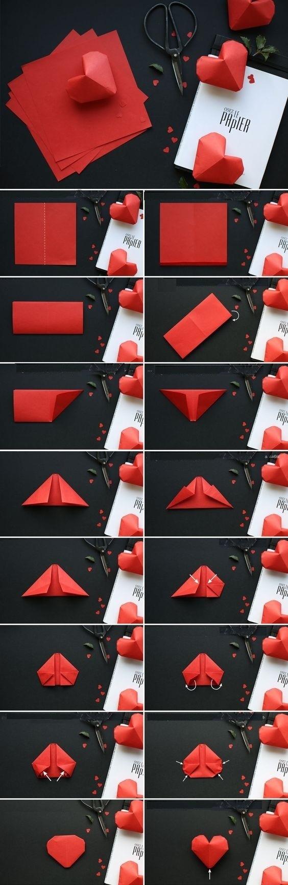Объемное сердце в технике оригами