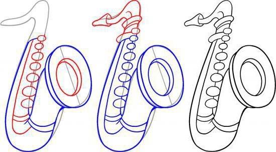 как рисовать саксофон