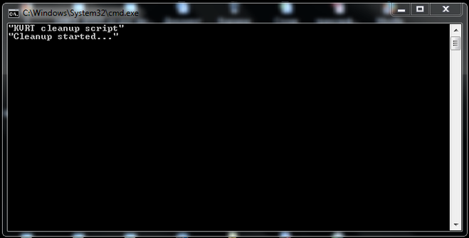Что означает окно C:\Windows\System32\cmd exe - KURT cleanup