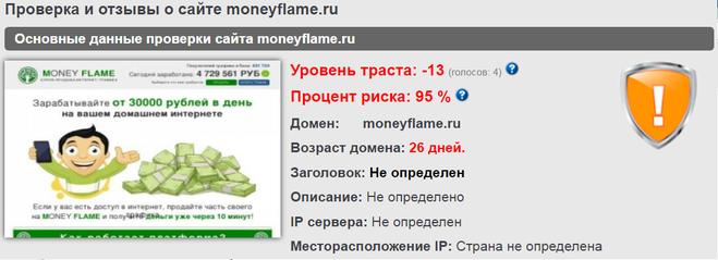 Сайт moneyflame.ru лохотрон