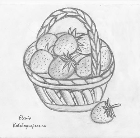 Нарисовать корзину с ягодами поэтапно