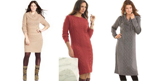 Вязаные платье для полных