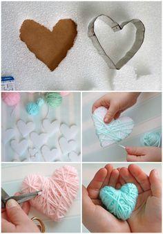поделка сердце своими руками на день Святого Валентина из ниток