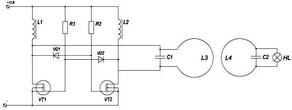Беспроводная передача тока на большое расстояние схема
