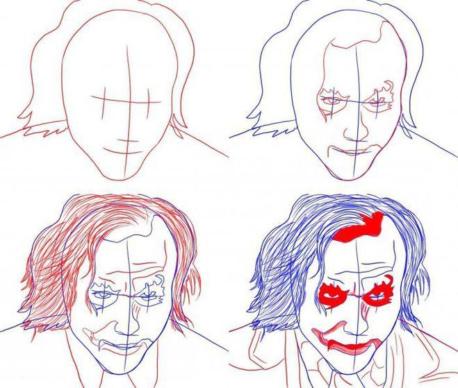 Джокера карандашом поэтапно