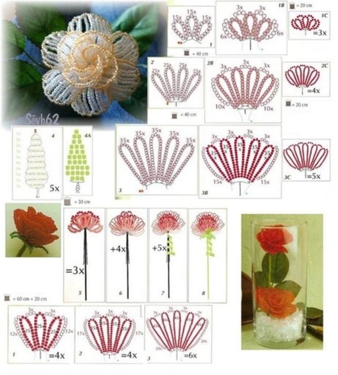 Цветок из бисера своими руками для начинающих