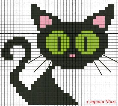рисунок по клеткам кошка3