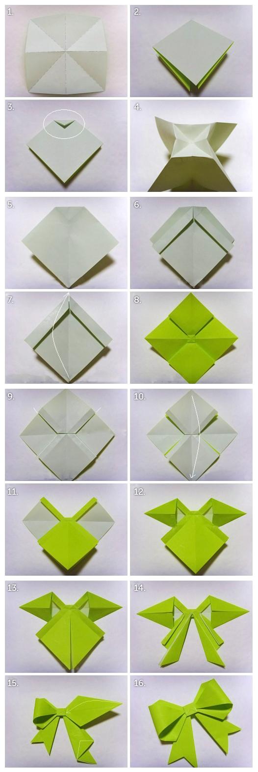 Как из листа бумаги сделать бантик из