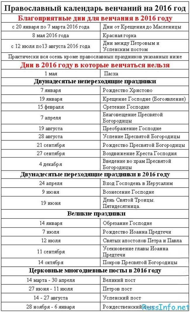 Заключение брака по православному календарю