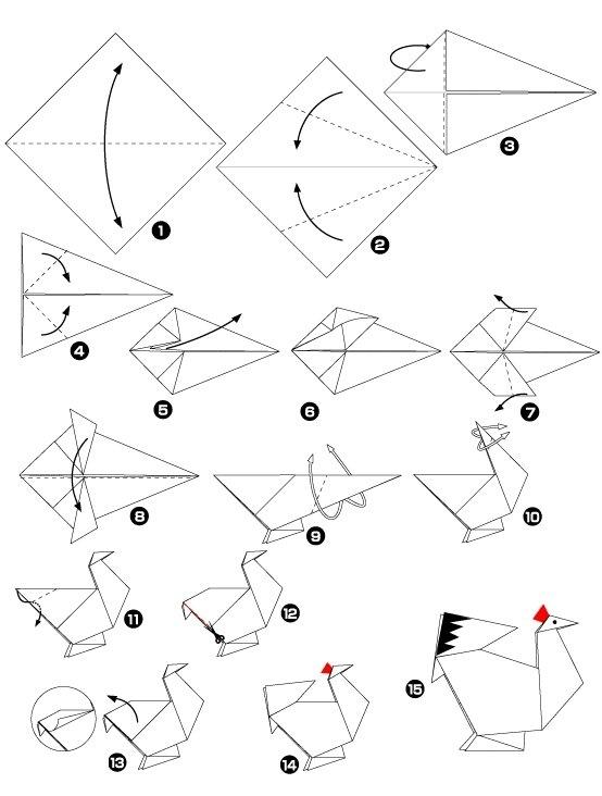 поделка петух из бумаги, объемная поделка петух из бумаги, шаблоны петуха