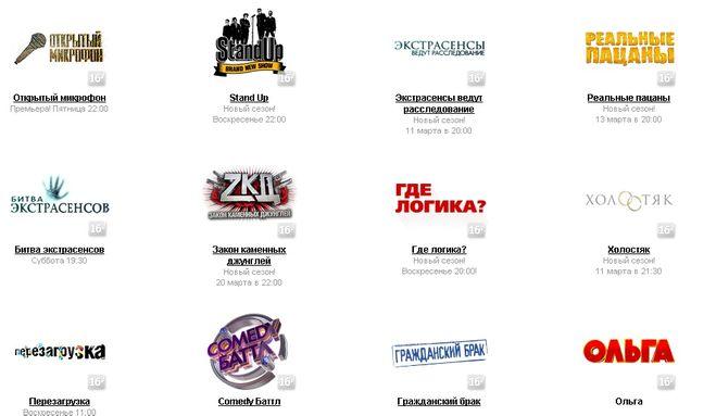 рейтинги передач канала ТНТ