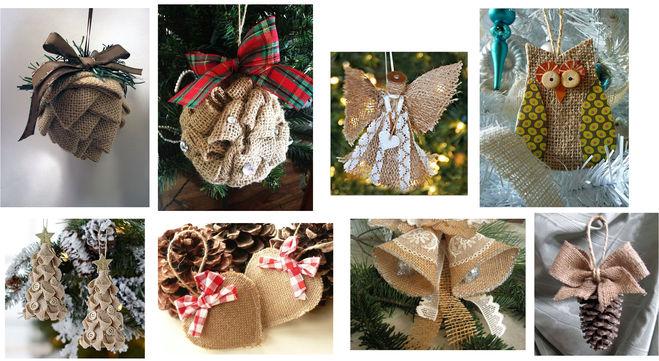 игрушки из мешковины для елки на Новый год